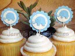 blue elephant cupcake toppers blue elephant baby shower toppers