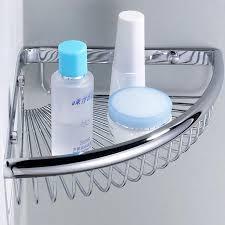 bathroom corner shelf chrome single tier storage holder