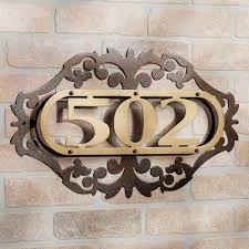 classic iron plate house number ideas at brick wall decor popular