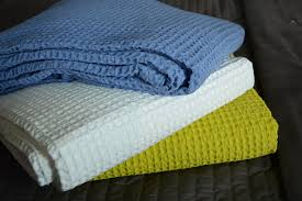 large cotton waffle throws white blue or lime natural bed company