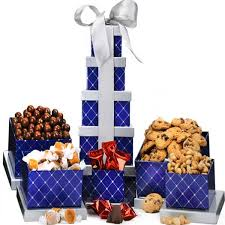 gift towers blue sapphire gift tower b gourmet gift baskets for all occasions