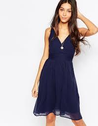 vero moda deep v skater dress in blue lyst