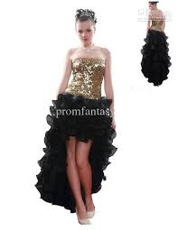 2017 gold shiny sequins bodice black high low ruffle organza prom
