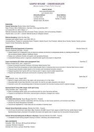 undergraduate curriculum vitae pdf exles resume undergraduate student resume exles for jobs high