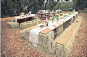 straw bale tables and benches natural wedding ideas juxtapost