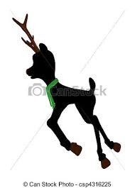 stock illustrations rudolph red nosed reindeer silhouette