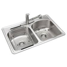 home depot kitchen sinks stainless steel glacier bay all in one drop in stainless steel 33 in 3 hole double