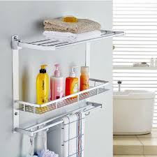Bathroom Shower Shampoo Holder Bathroom Shelves Two Layer Bathroom Rack Space Aluminum Towel