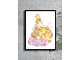 beast watercolor art print disney wedding gold print