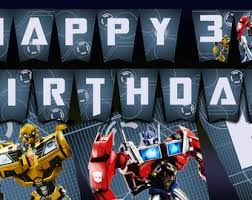 printable transformers birthday banner optimus prime diy etsy