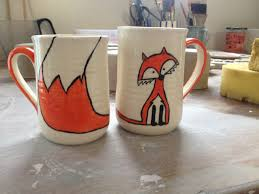 fox mug brookwood pottery fox mug handmade irish pottery orange fox