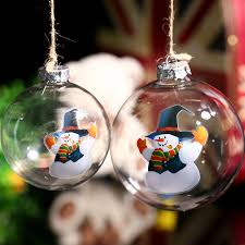 clear glass ornament snowman in blue hat