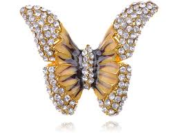 butterfly crystal rings images Golden tone brown yellow enamel wings butterfly crystal rhinestone JPG