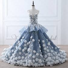 blue wedding dresses tw0184 flower fairy beige appliques luxury make blue wedding