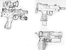 a quick sketch of a couple of handguns and an uzi drawing