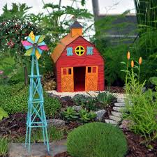amazon com colorful metal miniature fairy garden barn on the farm