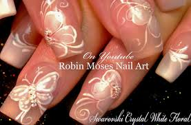 white flower nails diy french pink wedding nail art design