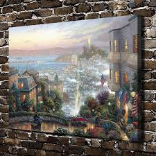 popular thomas kinkade san francisco buy cheap thomas kinkade san h1195 thomas kinkade san francisco lombard street hd canvas print home decoration living room bedroom