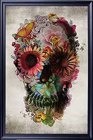 amazon com poster service flower skull poster 24 inch by 36 inch
