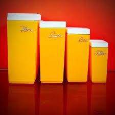 orange kitchen canisters set of 4 vintage capri kitchen canisters retro orange kitchen ware