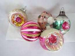 5 vintage blown glass ornaments 1940s 1950s winter