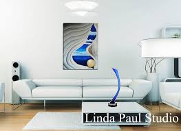 abstract contemporary seashell painting of shell in white and blue