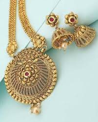 gold long necklace set images Buy designer necklace sets golden long necklace set with red stone jpg