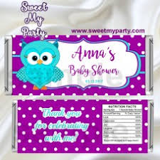 purple owl baby shower decorations baby shower candy bar wrappers baby shower party favors baby