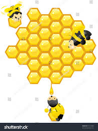 honeycomb cute working bees vector contains stock vector 55147309