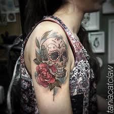 sketch work style sugar skull on the right shoulder horror