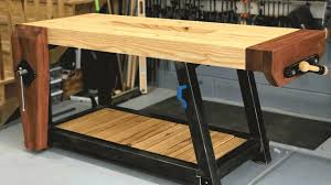 Build Woodworking Workbench Plans ultimate woodworking workbench build woodbrew youtube