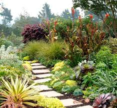 garden stepping stones with shrubs l andscape contemporary and