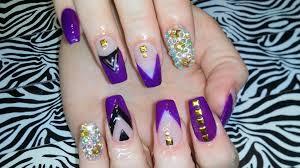 acrylic nails l full set l purple delight l nail design youtube