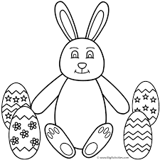 bunny sitting with easter eggs coloring page animals