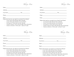 thirty one door prize form drawing slips 4 per page my thirty