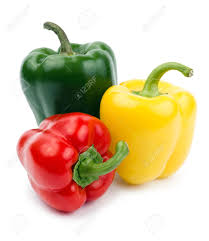 paprika pepper red yellow and green color isolated on a white