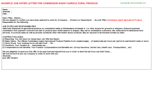 commission agent agricultural produce offer letter