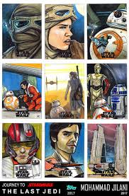 journey to the last jedi sketch official cards by art by jilani on