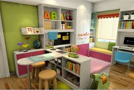 3d rendering of desk in children u0027s bedroom interior design