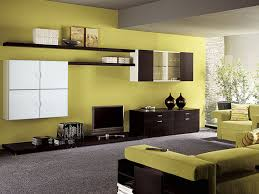 tv decoration yellow wall with white shelf and modern units for