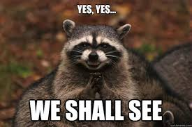See Memes - yes yes we shall see evil plotting raccoon quickmeme