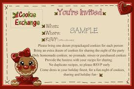 printable holiday cookie exchange christmas party invitation card