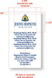 Standard Business Card Format Johns Hopkins Medicine Vertical Format