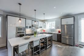 custom kitchen cabinets mississauga contemporary two tone kitchen water fall island port credit