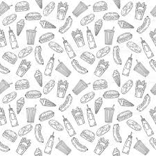 seamless pattern food fast food seamless pattern hand drawn food background stock vector