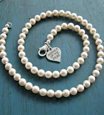 pearl bracelet with silver charm images Pearl necklace mother of the bride gift bridesmaid jewelry jpg