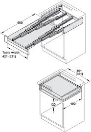 pull out table pull out table system for kitchen cabinets 100 kg in the häfele