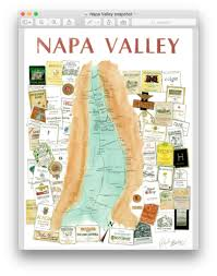 Map Of Napa Valley Napa Valley Wine Art Map For Sale Baker On Tech