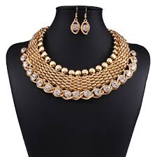 golden fashion necklace images Gold plated fashion jewellery set for women 2017 african beads jpg