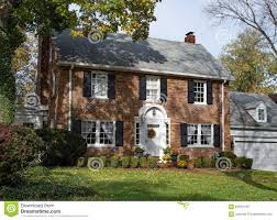 Two Story Farmhouse Old Brick Country Home In Autumn Stock Photo Image 63531440